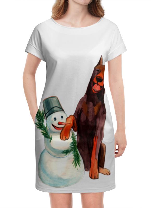 Платье летнее Printio Забавная акварельная собака, символ 2018 года