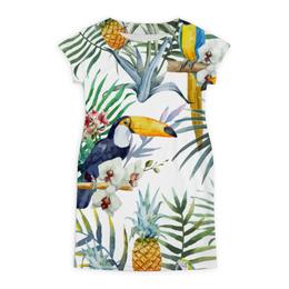 """Платье летнее """"Пеликан и ананасы"""" - красиво, птицы, природа, ананас, пеликан"""