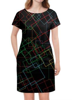 """Платье летнее """"Абстракция"""" - абстракция, чёрный фон, цвет, линии"""