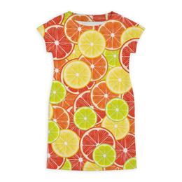 "Платье летнее ""Цитрусы"" - апельсин, лайм, лимон, грейпфрут, дольки"
