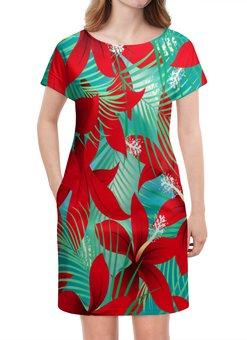 """Платье летнее """"Красные цветы"""" - цветы, узор, листья, природа, тропики"""