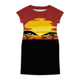 """Платье летнее """"Африка"""" - солнце, африка, графика, закат, саванна"""
