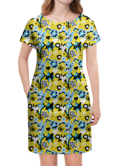 """Платье летнее """"Поп арт дизайн. Глаза сердце звезды паттерн"""" - яркий, классный, смешной, прикольный, юморной"""