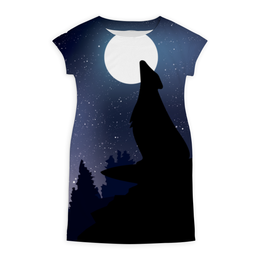 """Платье летнее """"Night wolf"""" - арт, ночь, дизайн, луна, волк"""