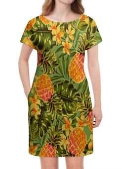 """Платье летнее """"Ананасы"""" - узор, листья, фрукты, тропики, ананасы"""