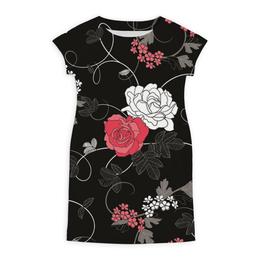 """Платье летнее """"Красная и белая розы"""" - цветы, белое, красное, розы"""