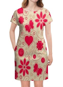 """Платье летнее """"Бабочки и цветы"""" - сердце, бабочки, цветы, узор, весна"""
