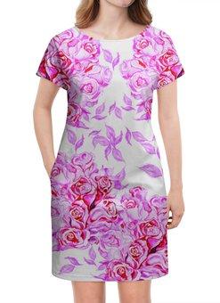 """Платье летнее """"акварельный рисунок из ярко розовых роз"""" - розовый, акварель, розы, крупные, букеты"""