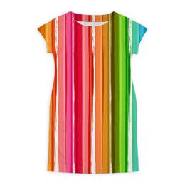 """Платье летнее """"Цветная радуга"""" - радуга, рисунок, цветной, полосатый, красочный"""