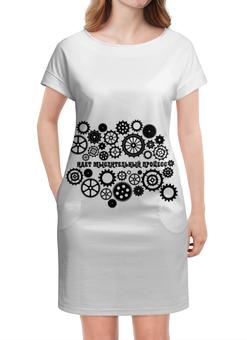 """Платье летнее """"Без названия"""" - мысль, мозг, шестеренки, шестерня"""