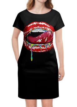 """Платье летнее """"Lips (губы)"""" - lips, sex, губы, с языком, рот"""