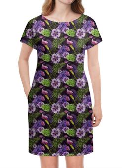 """Платье летнее """"Анютины глазки"""" - цветы, нежный цветок, тропические листья, лето"""
