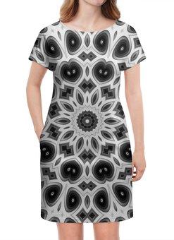 """Платье летнее """"Черно-белая мандала"""" - узор, цветок, белая, черная, мандала"""