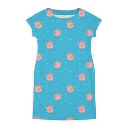 """Платье летнее """"Розовые свинки"""" - рисунок, голубой цвет, свинки"""