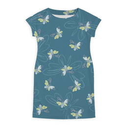 "Платье летнее ""Бабочки"" - бабочка, крылья, желтый, розовый, синий"
