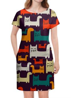 """Платье летнее """"Спящие котики"""" - кот, кошка, спящие котики"""