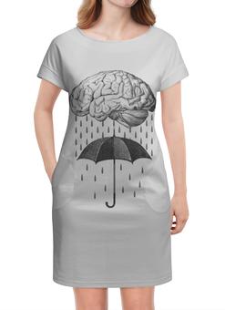 """Платье летнее """"Brain rain"""" - мозг, дождь, зонт, арт, прикольные"""