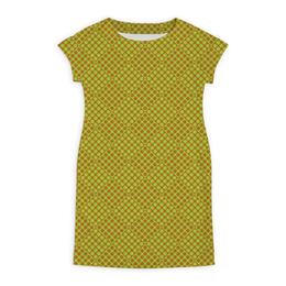 """Платье летнее """"Горох в квадрате"""" - зеленый, квадрат, геометрия, коричневый, горох"""