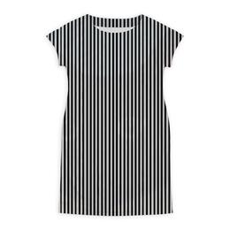 """Платье летнее """"Вертикальная полоска"""" - полоска, белый, чёрный, иллюзия"""