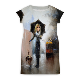 """Платье летнее """"Собака - Барабака"""" - арт, девушка, авторские майки, стиль, рисунок"""