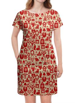 """Платье летнее """"Праздник"""" - новый год, олени, санта, снеговик, подарки"""