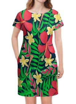 """Платье летнее """"Тропические цветы"""" - цветочки, листья, природа, цветы, тропики"""