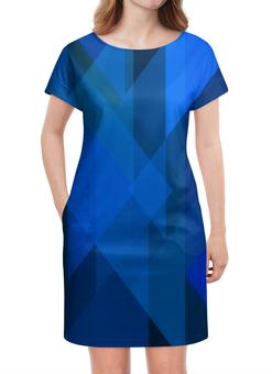"""Платье летнее """"Абстрактный синий"""" - графика, синий, краски, абстракция, треугольники"""