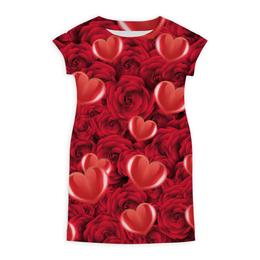 """Платье летнее """"Сердечки и розы"""" - день святого валентина, 14 февраля, сердечки, розы, день влюблённых"""