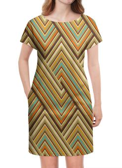 """Платье летнее """"Цветные линии"""" - оранжевый, полосы, клетка, квадраты, линии"""