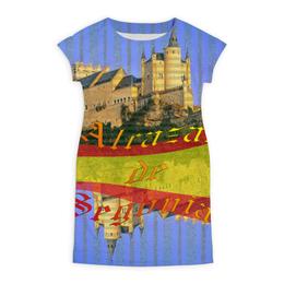 """Платье летнее """"Средневековой испанский замок Сеговия."""" - голубой, испания, полоски, крепость, испанский флаг"""