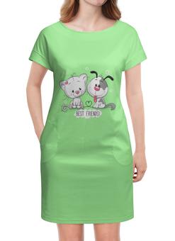 """Платье летнее """"Друзья"""" - мультяшки, друзья, рисунок, щенок, котёнок"""