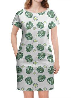 """Платье летнее """"отдых"""" - листья, зеленый, тропики"""