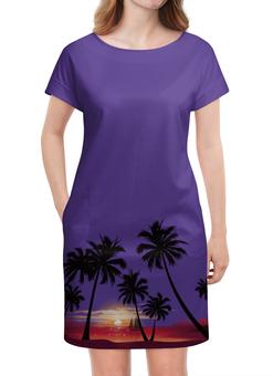 """Платье летнее """"Острова в океане"""" - море, закат, яхта, острова, пальмы"""