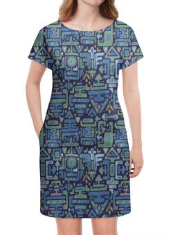 """Платье летнее """"Символы"""" - символы, знаки, иероглифы, стрелки, узор"""
