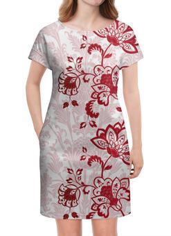"""Платье летнее """"Красные цветочки"""" - цветы, узор, красный, весна, цветочки"""