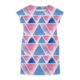 """Платье летнее """"Акварельная геометрия"""" - фиолетовый, треугольник, геометрия"""