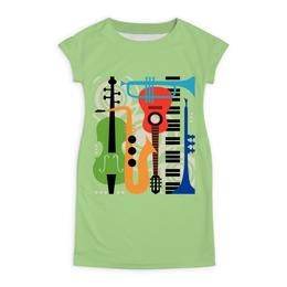 """Платье летнее """"Музыкальные инструменты"""" - музыка, гитара, скрипка, инструменты, саксафон"""