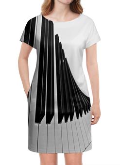 "Платье летнее ""Музыка"" - музыка, клавиши, музыкальные инструменты, ноты, пианино"