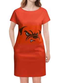 """Платье летнее """"Бульдог"""" - юмор, рисунок, бульдог, злая собака"""