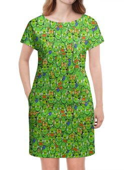 "Платье летнее ""Angry Birds"" - зеленый, свиньи, мульт, angry birds, энгри бёрдз"