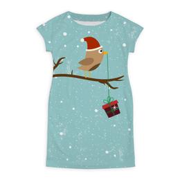 """Платье летнее """"Подарочек"""" - подарок, птичка, рождество, санта, merry christmas"""