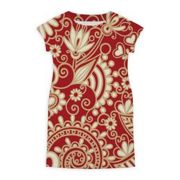 """Платье летнее """"Красный узор"""" - цветы, узор, сердца"""