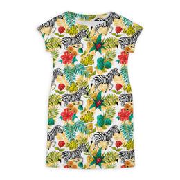 """Платье летнее """"Бегущие зебры"""" - цветы, лошадь, зебра, тропики, тропический"""
