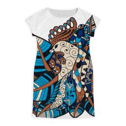 """Платье летнее """"петушиное разноцветие"""" - птица, яркий, символ года, абстрактный, петух"""