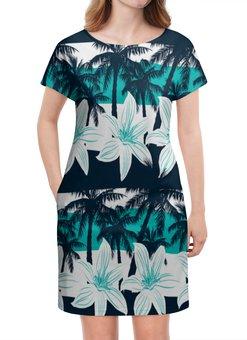 """Платье летнее """"Тропические цветы"""" - цветочки, пальмы, природа, цветы, тропики"""