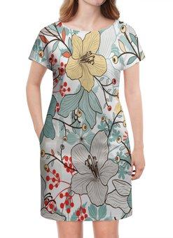 """Платье летнее """"Цветочный сад"""" - природа, деревья, цветы, листья, узор"""