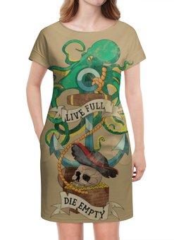 """Платье летнее """"Осьминог"""" - череп, якорь, old school, татуировка, пират"""