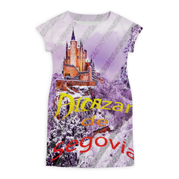 """Платье летнее """"Испанский замок Сеговия."""" - сиреневый, красный, испания, полоски, крепость"""