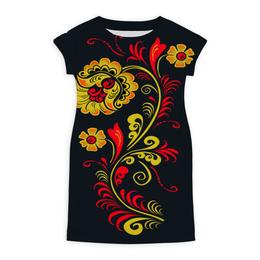 "Платье летнее ""Яркая хохлома"" - цветы, узор, яркий, хохлома"