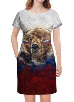 """Платье летнее """"Русский Медведь"""" - флаг, триколор, россия, футбол, медведь"""